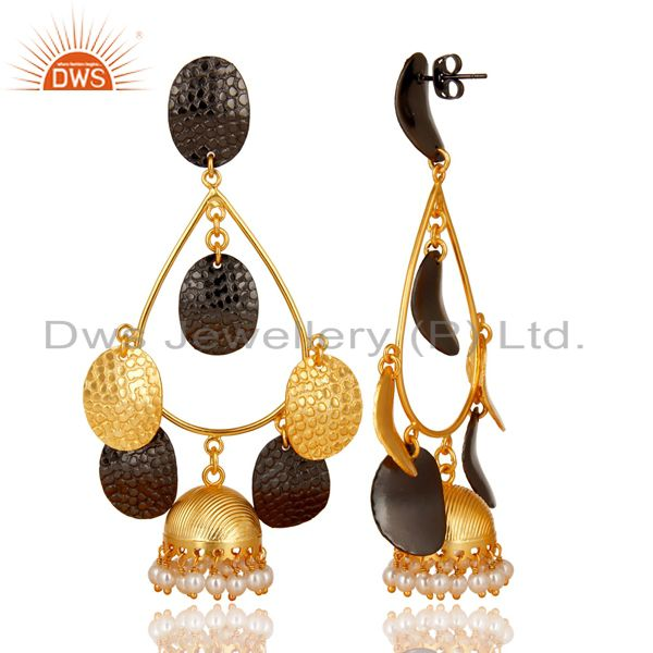 Exporter 14K Gold Plated Traditional Handmade Round Pearl Beads Jhumka Brass Earrings