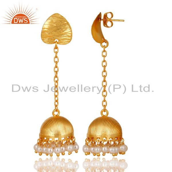 Exporter Gold Plated Traditional Handmade Round Pearl Beads Jhumka Brass Earrings