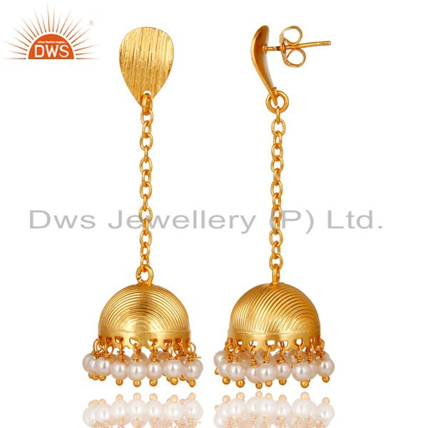 Exporter 14K Gold Plated Traditional Round Pearl Beads Chain Jhumka Brass Earrings