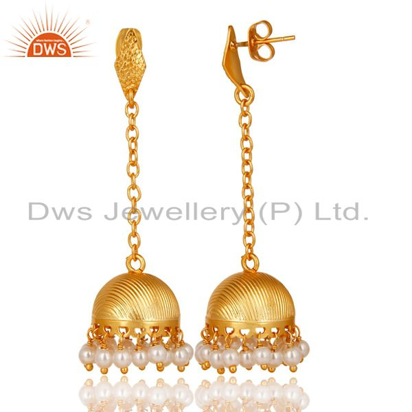 Exporter 14K Yellow Gold Plated Traditional Handmade Pearl Chain Jhumka Brass Earrings