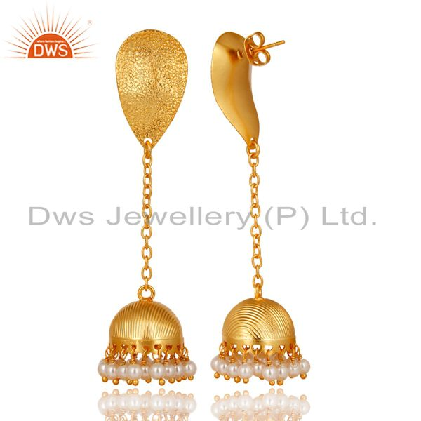 Exporter 14K Gold Plated Traditional Handmade Pearl Chain Jhumka Brass Earrings