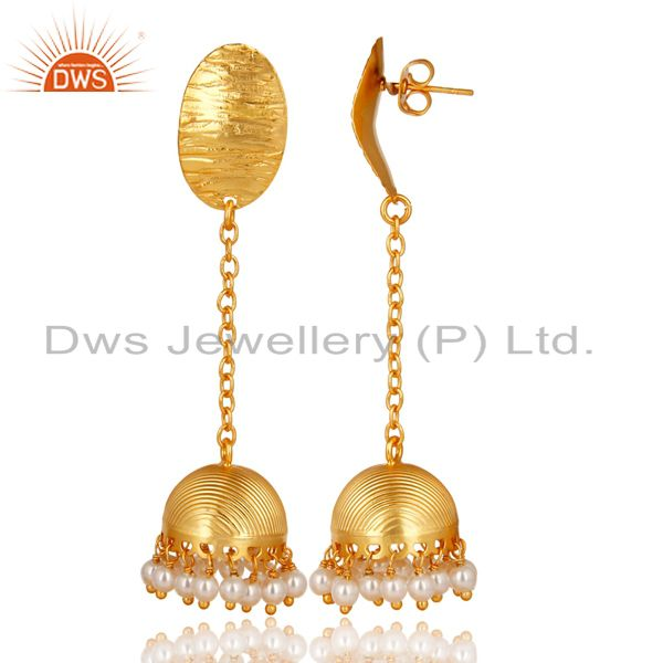 Exporter 14K Gold Plated Traditional Handmade Round Pearl Chain Jhumka Brass Earrings