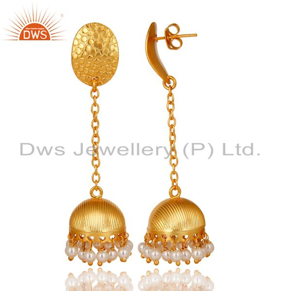 Exporter 14K Gold Plated Handmade Round Pearl Beads Chain Jhumka Brass Earrings