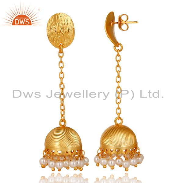 Exporter 14K Yellow Gold Plated Handmade Round Pearl Beads Chain Jhumka Brass Earrings