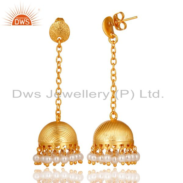 Exporter 14K Gold Plated Traditional Handmade Pearl Beads Chain Jhumka Brass Earrings