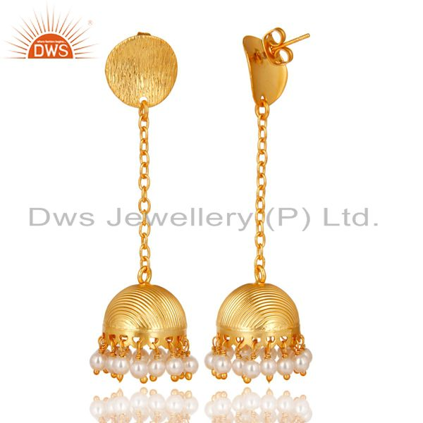 Exporter 14K Yellow Gold Plated Traditional Pearl Beads Chain Jhumka Brass Earrings