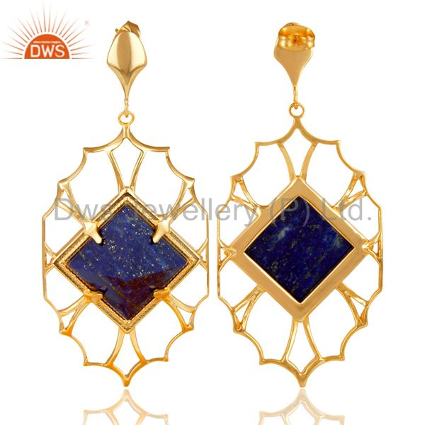 Exporter 14K Yellow Gold Plated Handmade Lapis Pyramid Style Studs Brass Dangle Earrings