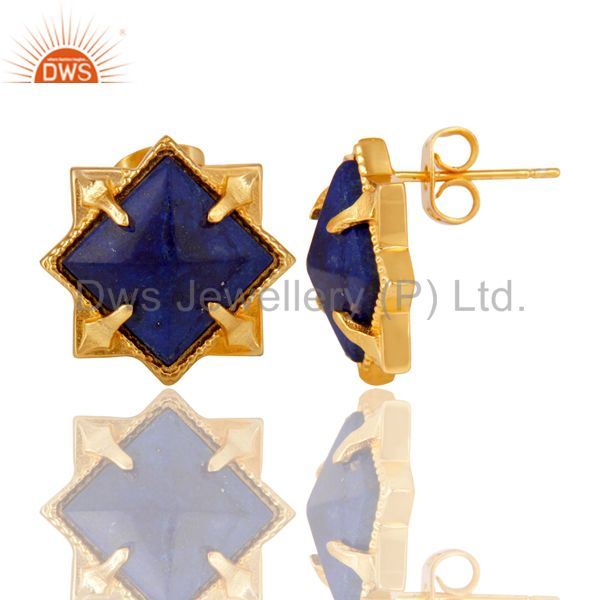 Exporter 14K Yellow Gold Plated Handmade Lapis Pyramid Style Studs Brass Earrings