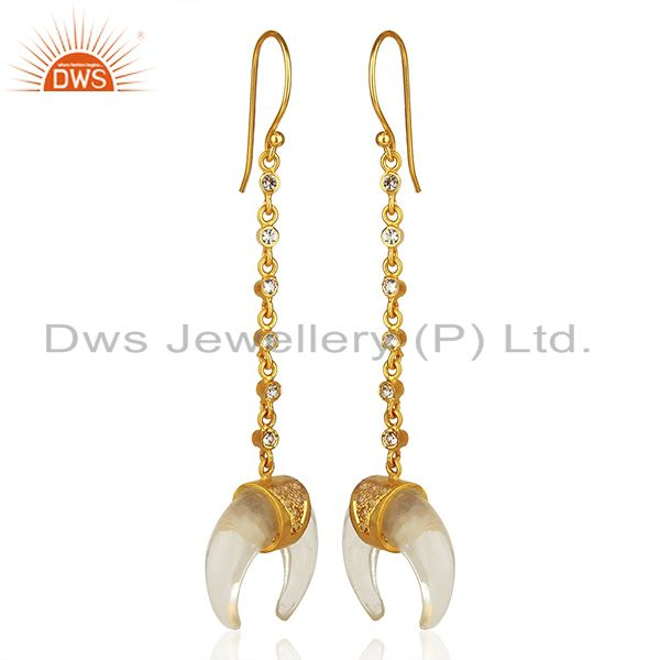 Exporter Crystal Quartz Crescent Moon 925 Sterling Silver 18k Gold Plated Dangle Earring