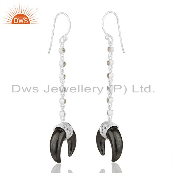 Exporter White Topaz With Hematite Crescent Moon 925 Sterling Silver Dangle Earring