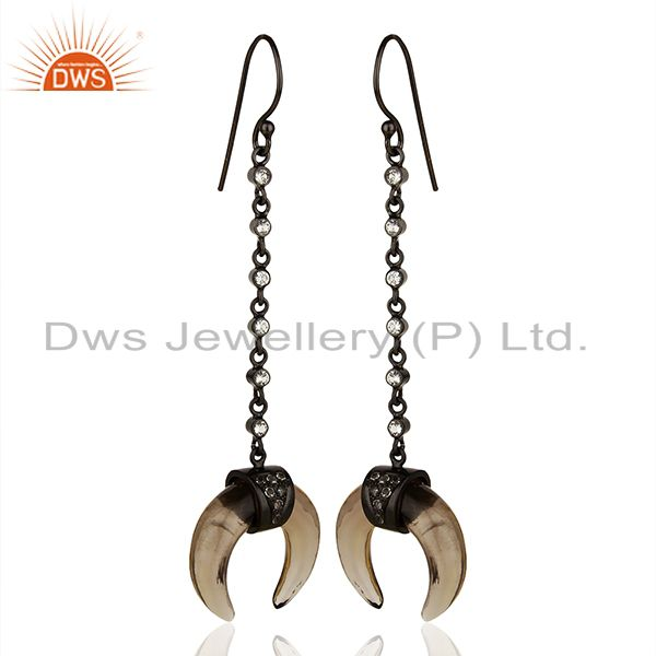 Exporter Smoky Topaz Crescent Moon Sterling Silver Black Rhodium Plated Dangle Earring