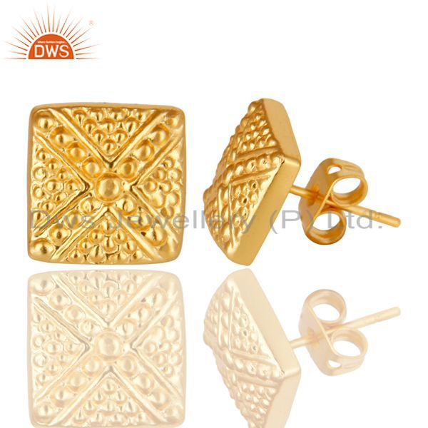 Exporter 14K Yellow Gold Plated Traditional Handmade Textured Design Stud Brass Earrings