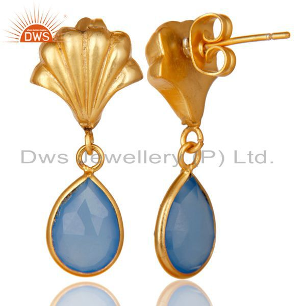 Exporter 14K Yellow Gold Plated Handmade Dyed Chalcedony Bezel Set Drops Brass Earrings