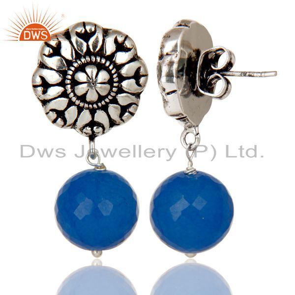 Exporter Traditional Handmade Oxidized With Silver Plated Chalcedony Drops Brass Earrings
