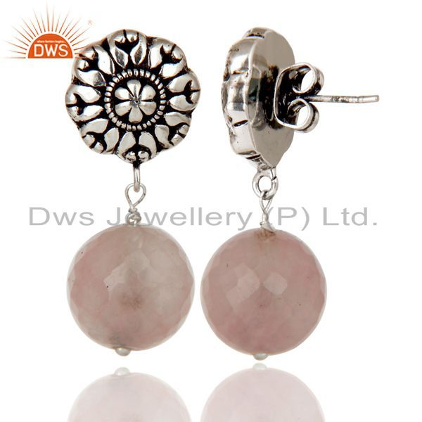 Exporter Traditional Handmade Oxidized With Silver Plated Rose Chalcedony Brass Earrings