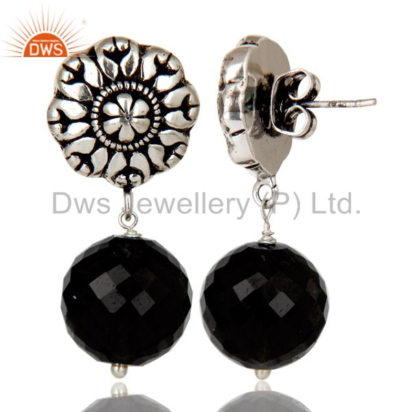 Exporter Traditional Handmade Oxidized With Silver Plated Black Onyx Drops Brass Earrings