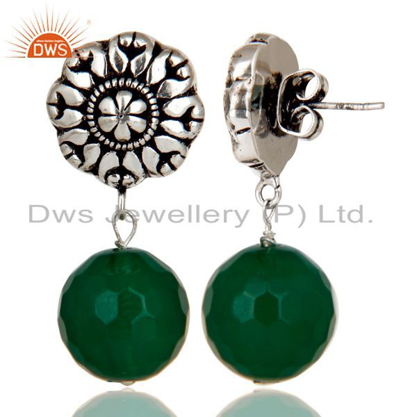 Exporter Traditional Handmade Oxidized With Silver Plated Green Onyx Drops Brass Earrings