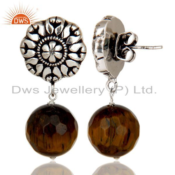 Exporter Traditional Handmade Oxidized With Silver Plated Tiger Eye Drops Brass Earrings