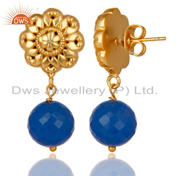 Exporter 14K Yellow Gold Plated Traditional Handmade Dyed Chalcedony Brass Earrings