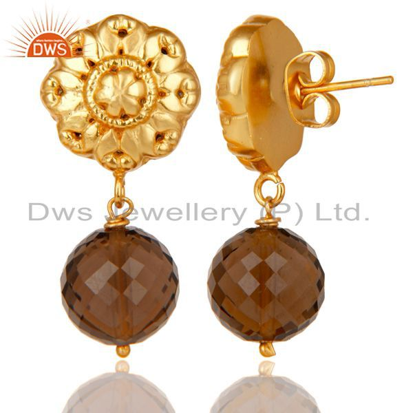 Exporter 14K Yellow Gold Plated Traditional Handmade Faceted Smokey Topaz Brass Earrings