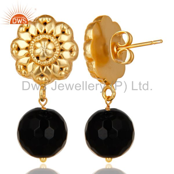 Exporter 14K Yellow Gold Plated Traditional Handmade Faceted Black Onyx Brass Earrings