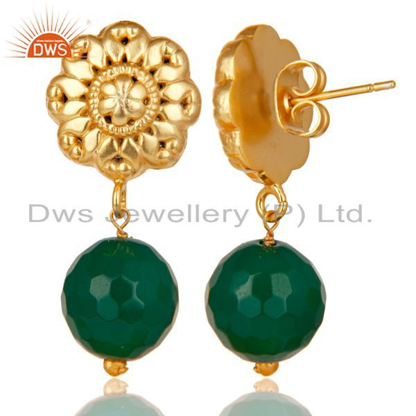 Exporter 14K Yellow Gold Plated Traditional Handmade Green Onyx Drops Brass Earrings