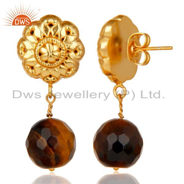 Exporter 14K Yellow Gold Plated Traditional Handmade Tiger Eye Drops Brass Earrings