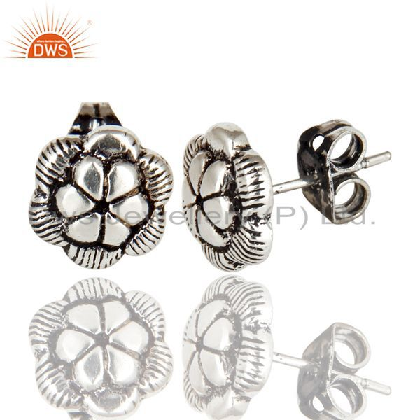 Exporter Black Oxidized Traditional Handmade Flower Style Studs Brass Earrings Jewelry