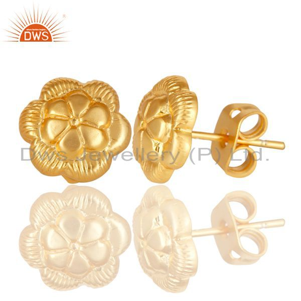 Exporter Floral Designer Gold Plated Brass Designer Fashion Stud Earrings Jewelry