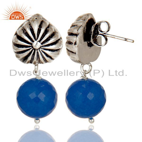 Exporter Handmade Art Dyed Blue Chalcedony Drop Brass Earrings In Oxidized Silver Plated