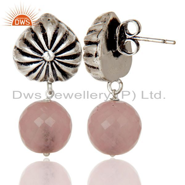 Exporter Handmade Art Dyed Rose Chalcedony Drop Brass Earrings In Oxidized Silver Plated