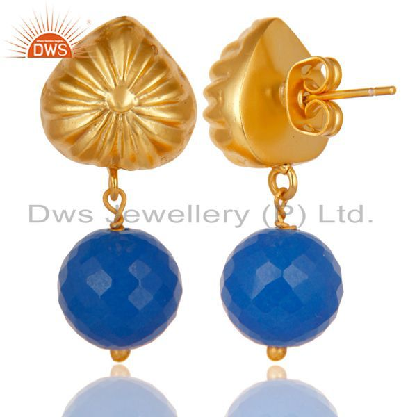 Exporter Handmade Art Dyed Blue Chalcedony Drop Brass Earrings In 14K Yellow Gold Plated