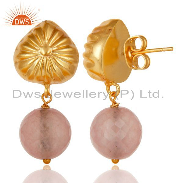 Exporter Handmade Art Dyed Rose Chalcedony Drop Brass Earrings In 14K Yellow Gold Plated