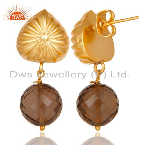 Exporter Handmade Art Faceted Smokey Topaz Drop Brass Earrings In 14K Yellow Gold Plated