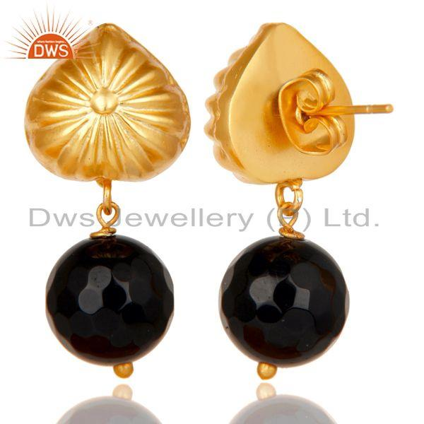 Exporter Handmade Art Faceted Black Onyx Drops Brass Earrings In 14K Yellow Gold Plated