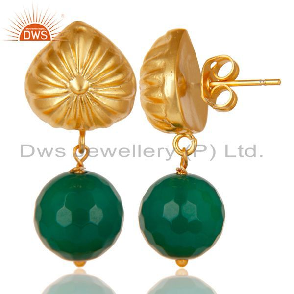 Exporter Handmade Art Faceted Green Onyx Drops Brass Earrings In 14K Yellow Gold Plated
