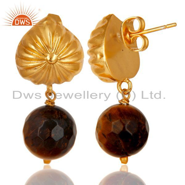 Exporter Handmade Art Faceted Tiger Eye Drops Brass Earrings In 14K Yellow Gold Plated
