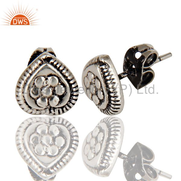 Exporter Traditional Handmade Design Studs Brass Earrings Made In Oxidized Silver Plated