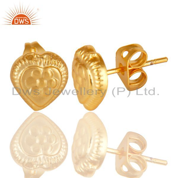Exporter Traditional Handmade Design Studs Brass Earrings Made In 14K Yellow Gold Plated