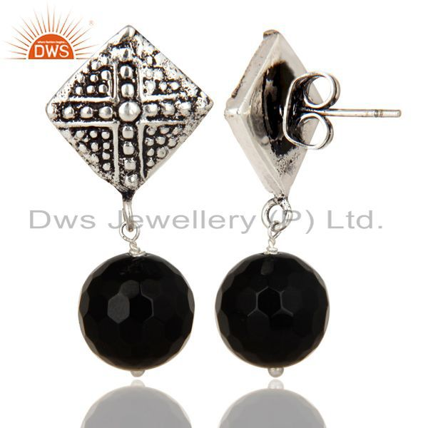 Exporter Black Oxidized With Silver Plated Ball Style Black Onyx Drops Brass Earrings
