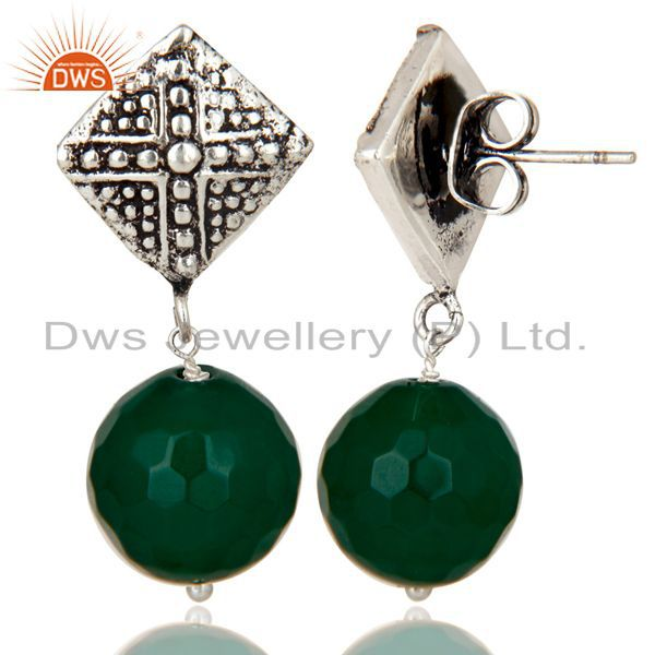 Exporter Black Oxidized With Silver Plated Ball Style Green Onyx Drops Brass Earrings
