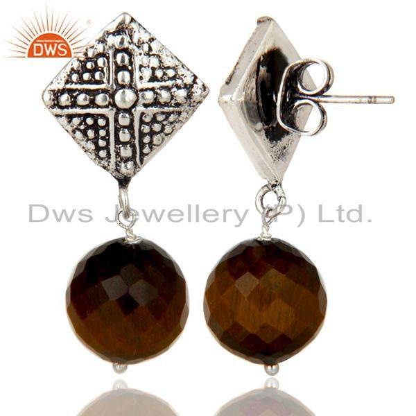 Exporter Black Oxidized With Silver Plated Ball Style Tiger Eye Drops Brass Earrings