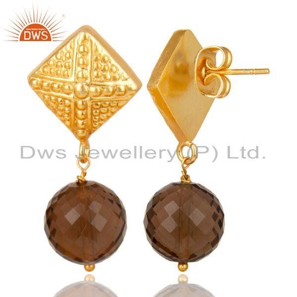 Exporter 14K Yellow Gold Plated Handmade Ball Style Faceted Smokey Drops Brass Earrings
