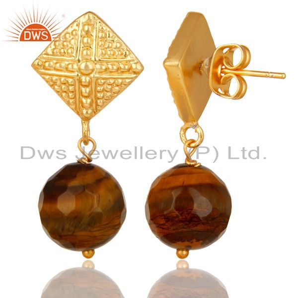 Exporter 14K Yellow Gold Plated Handmade Ball Style Yellow Tiger Eye Drop Brass Earrings