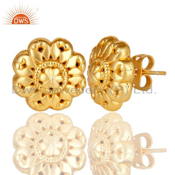 Exporter 14K Yellow Gold Plated Traditional Handmade Art Studs Brass Earrings Jewelry