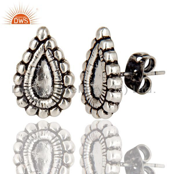 Exporter Black Oxidized With Silver Plated Handmade Fashion Studs Brass Earrings Jewelry