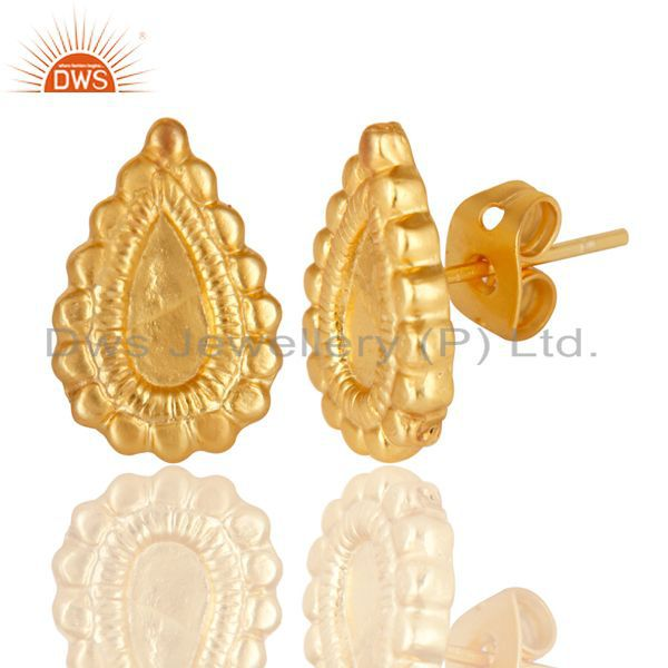 Exporter 14K Yellow Gold Plated Handmade Fashion Studs Brass Earrings Jewelry