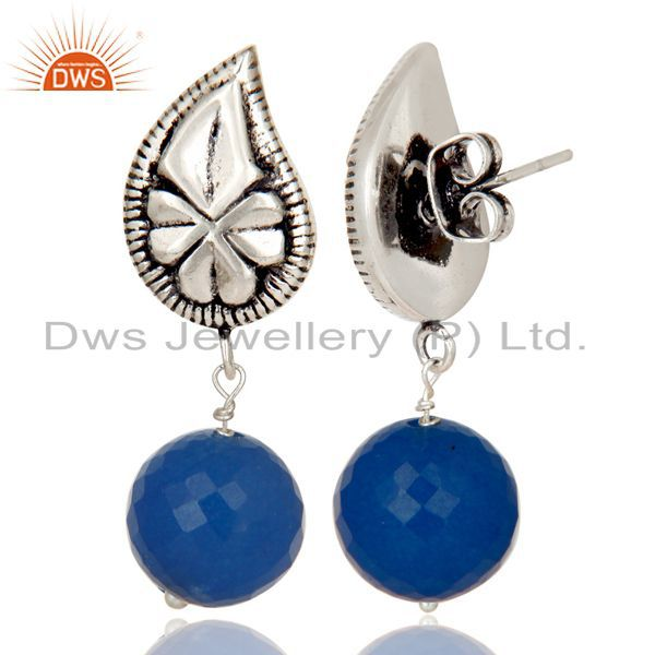 Exporter Flower Carving Blue Chalcedony Brass Earrings Made In Oxidized Silver Plated