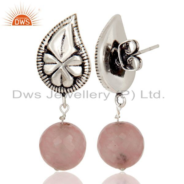 Exporter Flower Carving Dyed Chalcedony Brass Earrings Made In Oxidized Silver Plated