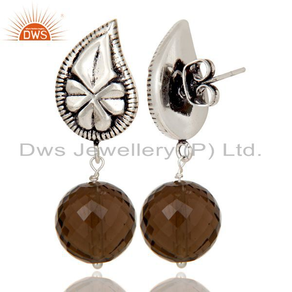 Exporter Flower Carving Smokey Topaz Brass Earrings Made In Oxidized Silver Plated